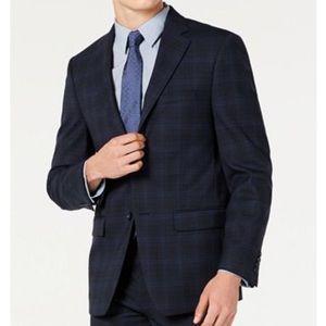 NWOT Calvin Klein 42R Plaid Navy Jacket Blazer